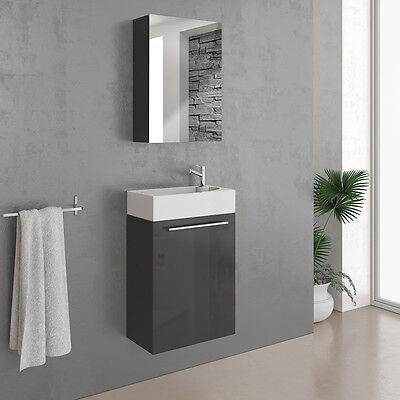 VICCO Badmöbel Set 45 cm Schwarz Hochglanz - Gäste WC Bad Waschtisch Spiegel