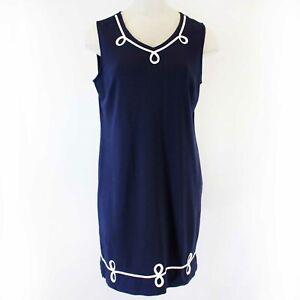 Talbots Plus Size Blue Decorated Neck Nautical Dress 2X