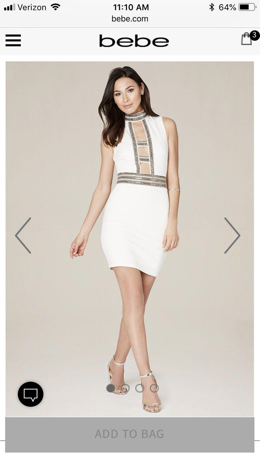 NWT Bebe Ivory Caged and Embelleshed Dress Sz 6