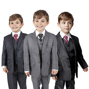Boys-Suits-5-Piece-Waistcoat-Suit-Wedding-Page-Boy-Baby-Formal-Party-3-Colours