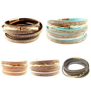 Charm-Punk-Leather-Wrap-Cuff-Bangle-Bracelet-Women-Wristband-Multi-Layer-Jewelry