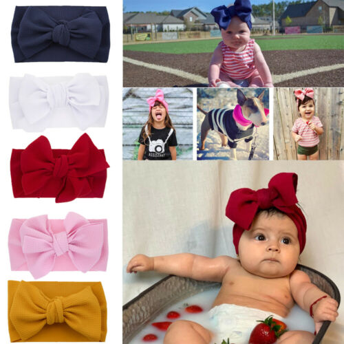 Baby Headband Bow Knot Big Vintage Retro Hair Ribbon Children Kids Girls Boys UK