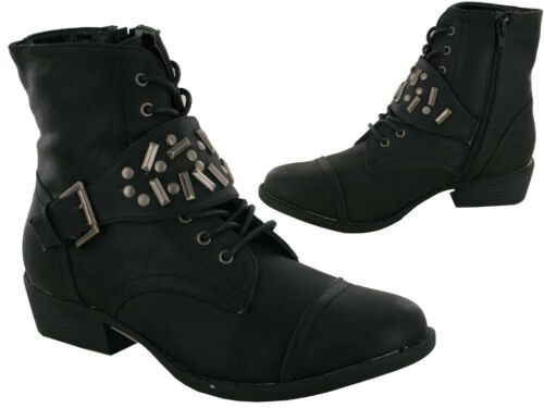 Ladies New Stud Lace Up Ankle Women Boot UK Size 3-8
