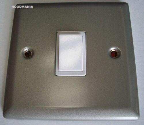 5 X Single 1 Gang 2 Way 10AX Light Switch Satin Chrome Effect White DEC0017