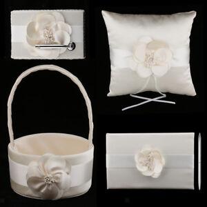 Flower-Sash-Wedding-Set-Guest-Book-Pen-Holder-Basket-Pillow-Decor-Champagne