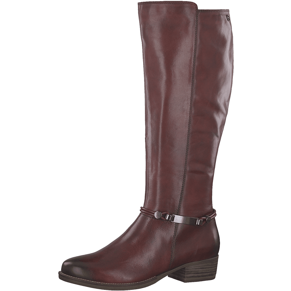 Tamaris 25509 Sangria Wine Leather Knee High Small Block Heel Stiefel Narrow Calf