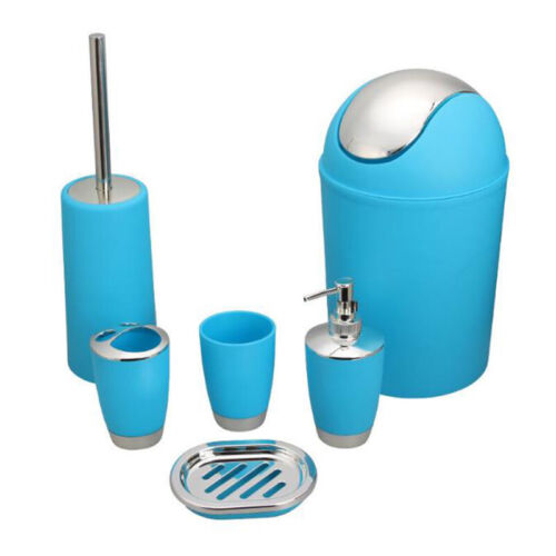 6PCS Plastic Bathroom Accessory Sets Dispenser Toothbrush Holder Tumbler Cup Set