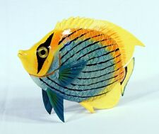 """Hand Painted 6"""" Tropical Fish Statue Figurine Sculpture Blue Yellow Top 5002"""