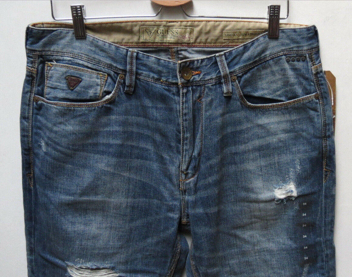 Guess Jeans Men 34 W x 32 Lincoln Slim Straight Distressed Authentic NWT