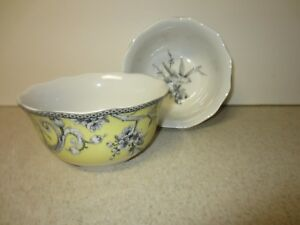 LOT-OF-2-222-Fifth-ADELAIDE-YELLOW-Soup-Cereal-Bowl-5-5-8-034