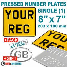 """8"""" x 7"""" Motorbike Motorcycle Bike Aluminium Metal PRESSED Number Plate  +GIFTS"""