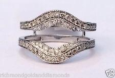 Solitaire Enhancer Vintage Milgrain 0.60 Diamonds Ring Guard Wrap 10k White Gold