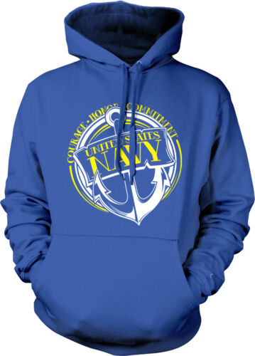 US Navy Anchor Courage Honor Commitment Patriotic USA Pride Hoodie Pullover