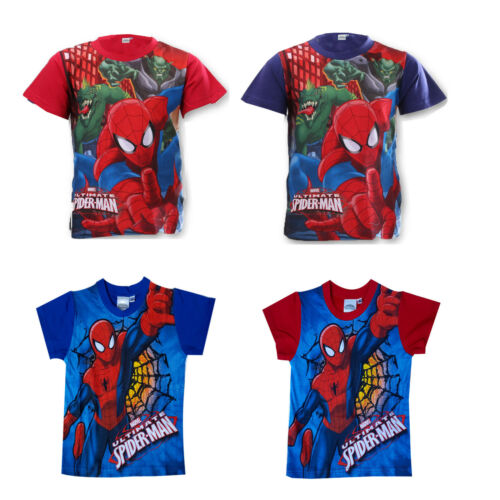 Boys New Official Spiderman Cotton Summer Short Sleeve T Shirt Top Age 3-9 Years