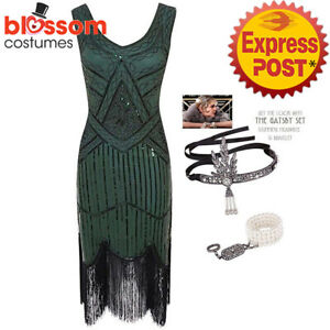 Ladies 20s 1920s GreenRoaring Flapper Costume Sequin Gatsby Party Fancy Dress