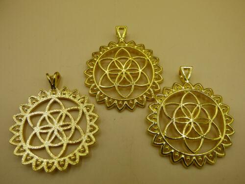 1x ligero de latón Golden Flower of Life colgante flor de vida universo espiral