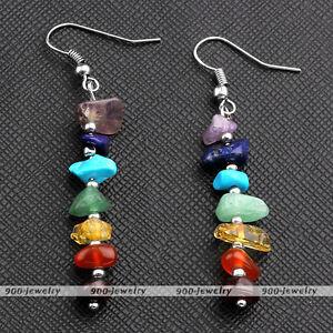 7-Natural-Chakra-Irregular-Gemstone-Beads-Ear-Drop-Dangle-Hook-Earrings-Jewelry