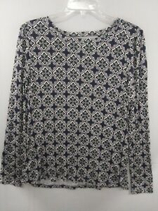 NWT-Womens-Ann-Taylor-LOFT-Long-Sleeve-Wrap-Bar-Back-Top-Mosaic-Floral-Medium-M