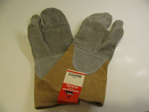 Vintage Wolverine Leather Mitten 3 Finger Motorcycling Snowmobiling Gloves New
