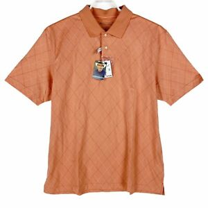 Jos A Bank Leadbetter Performance Golf Polo Shirt Orange Peach Diamond XL New