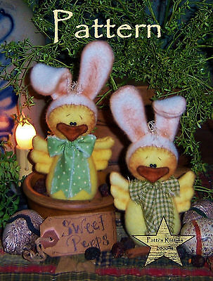 Primitive Easter Bunny Rabbit Chick Doll Ornie Paper Pattern #456