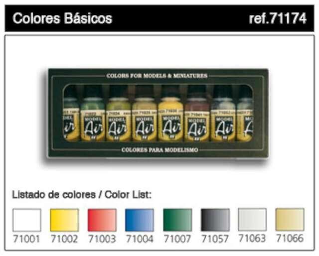 Vallejo Acrylic Paints17ml Bottle Basic Model Air Paint Set (8 C 8429551711746