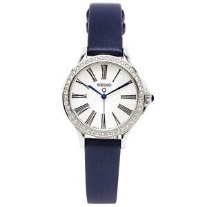 Seiko-Swarovski-SRZ441-P2-Silver-Blue-Grey-Leather-Strap-Women-039-s-Analog-Watch