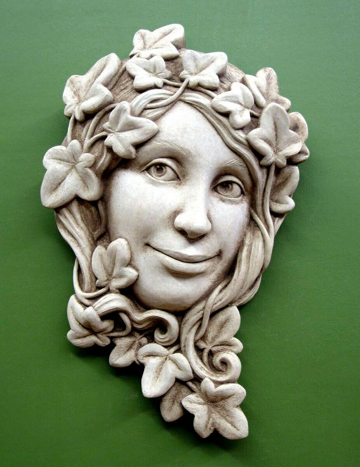 Placas De Jardín -  La hiedra Maiden  muro de piedra Escultura edad acabado de piedra