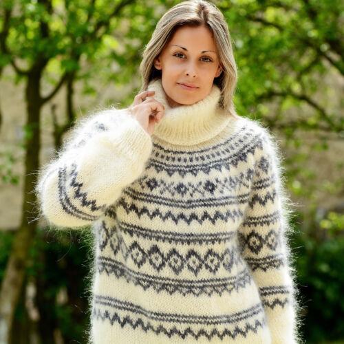 mohair M lavorato Off Xl islandese L Nordic Maglione Bianco con mano Extravagantza grigio a ATHxn4qU