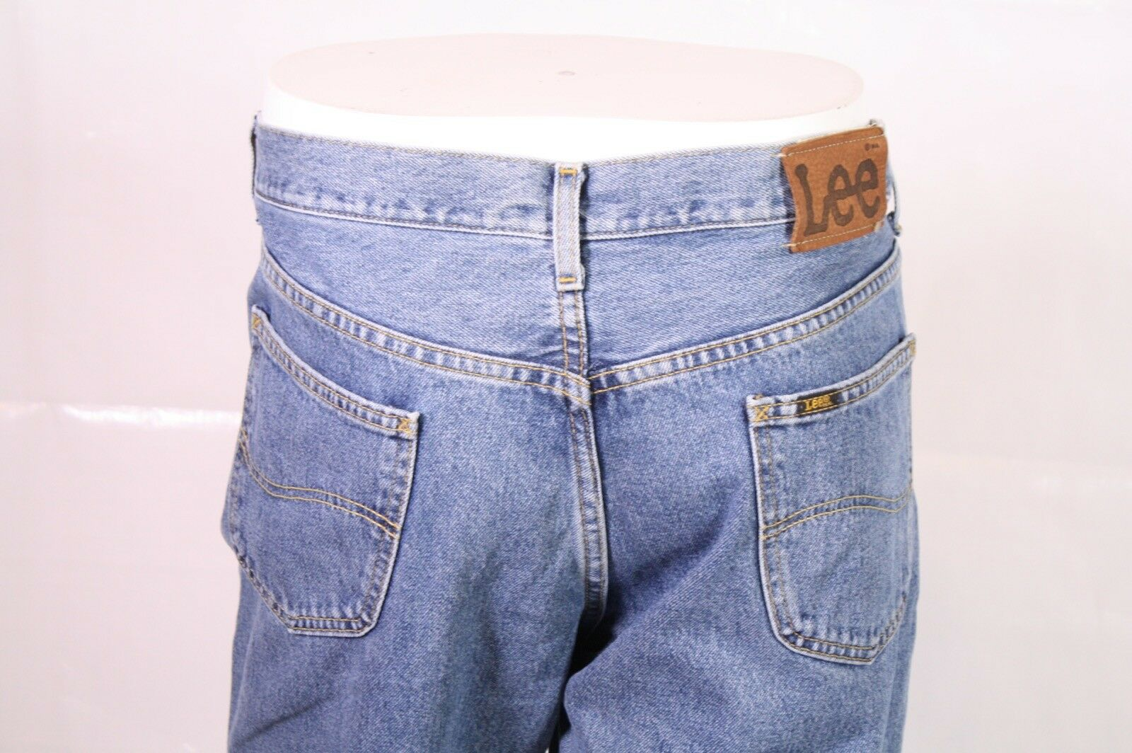 Bj1-13 Lee Boston Jeans w36 l30 Bleu Straight Leg Relaxed Fly Zip Fly Relaxed used-look 53f393