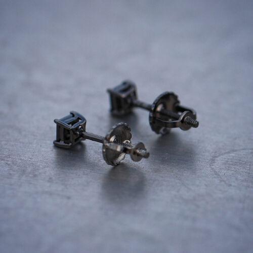 Small Black Princess Cut Solitaire Lab Simulated Diamond Stud Earrings