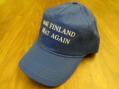 MAKE FINLAND GREAT AGAIN AMERICA HAT DONALD TRUMP USA HELSINKI CAP BLUE SUOMI