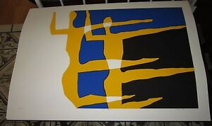 Vintage-S-J-Budnick-pop-art-color-lithograph-034-Duet-in-Flight-034-signed-listed