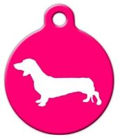 Dachshund Silhouette - Custom Personalized Pet Id Tag For Dog And Cat Collars