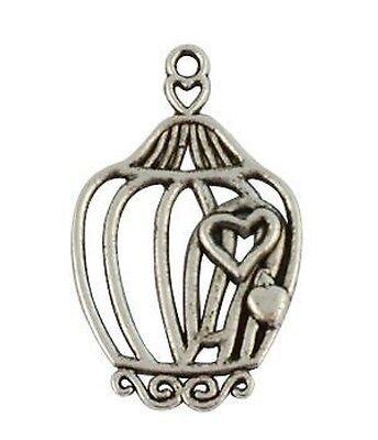 20Pcs Tibetan Silver Heart bird cage charms T15059