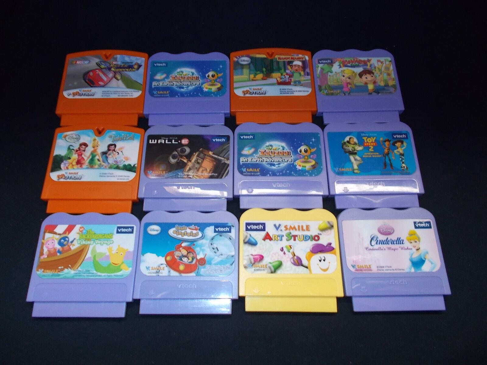 Lot Of 12 V Tech V Lächeln Patronen Spiele Video Toy Story Nascar Wall-E Handy