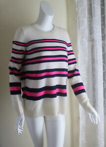 sz Cashmere Sweater Ivory Warren Hvid Pink Longer 100 Navy L Breton Stripe 1qaZZzgwx