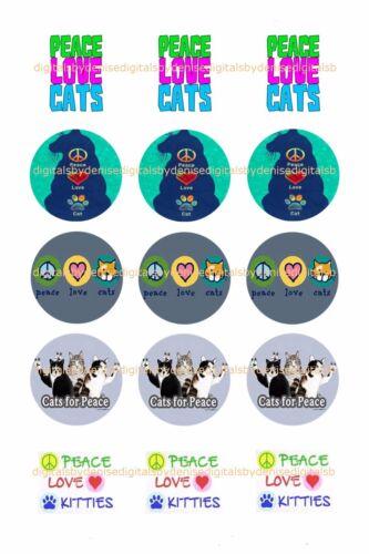 "PEACE LOVE CATS bottlecap images   15 precut 1/"" circles *****FREE SHIPPING*****"
