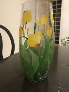 Hand-Painted-Tall-Glass-Tulip-Vase-Centerpiece-Perfect-For-Spring-Summer-Decor