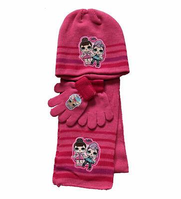 Set Inverno Bambine Lol Surprise Cappello Scaldacollo Guanti