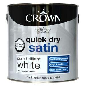 Crown Quick Dry Satin Brilliant White Interior Wood