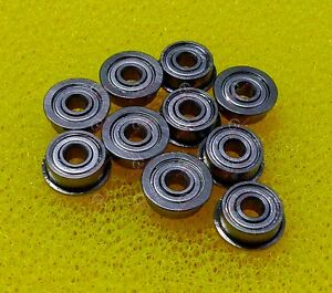 "10 PCS FR8zz (1/2"" x 1-1/8"" x 5/16"") Flange Metal Double Shielded Ball Bearings"