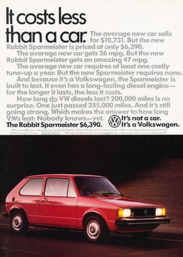 1984 VW Volkswagen Rabbit Sparmeister Classic Vintage Advertisement Ad H92