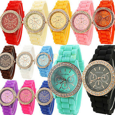 Ladies Women Girls Golden Crystal Stone Geneva Silicone Jelly Quartz Wrist Watch