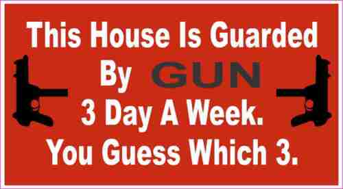 Warning House Guarded By Gun  Decal Sticker ATV Funny Toolbox Car