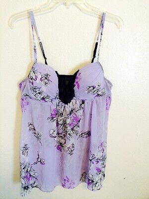 Apt 9 Purple Lingerie Baby doll Size XL floral Black Plus Curvy Teddie