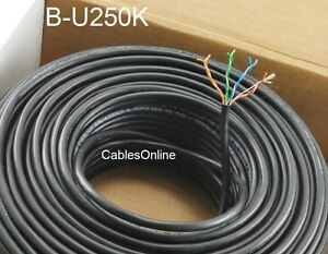 250ft Cat5e 350MHz UTP 24AWG solid pure copper Black Riser Rated CMR Cable