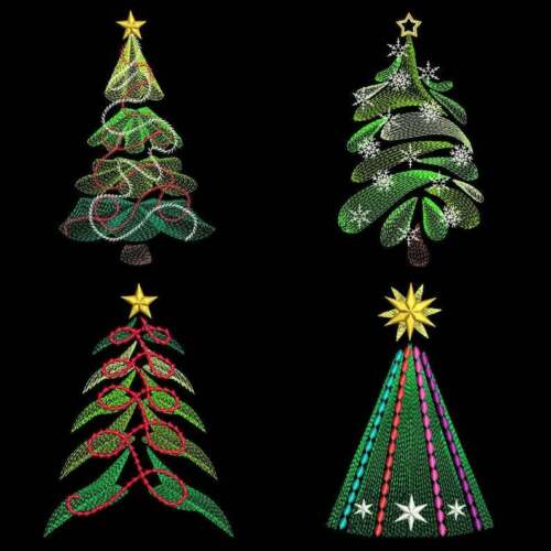 Christmas Trees EMBROIDERED  12 QUILT BLOCKS Beautiful Set