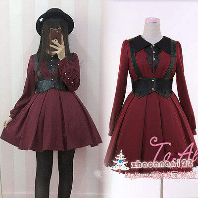Vintage Gothic Lolita Japanese Harajuku Punk Devil Princess Long Sleeve Dress