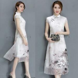 HOT-Vintage-Womens-Chinese-Style-Silk-QiPao-Cheongsam-Evening-Party-Long-Dress-W